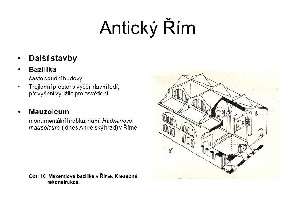 Antický Řím Další stavby Bazilika často soudní budovy Trojlodní prostor s vyšší hlavní lodí, převýšení využito pro osvětlení Mauzoleum monumentální hr
