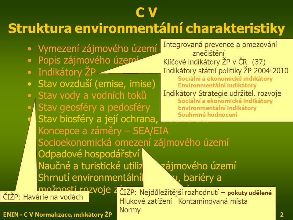ENIN - C V Normalizace, indikátory ŽP2 C V Struktura environmentální charakteristiky Vymezení zájmového území Popis zájmového území Indikátory ŽP Stav ovzduší (emise, imise) Stav vody a vodních toků Stav geosféry a pedosféry Stav biosféry a její ochrana, biodiversita Koncepce a záměry – SEA/EIA Socioekonomická omezení zájmového území Odpadové hospodářství Naučné a turistické utilizace zájmového území Shrnutí environmentálního stavu, bariéry a možnosti rozvoje zájmového území Integrovaná prevence a omezování znečištění Klíčové indikátory ŽP v ČR (37) Indikátory státní politiky ŽP 2004-2010 Sociální a ekonomické indikátory Environmentální indikátory Indikátory Strategie udržitel.