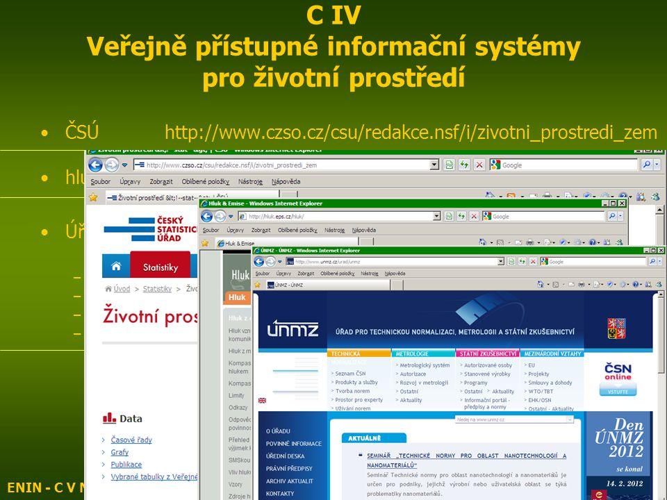 ČSÚ http://www.czso.cz/csu/redakce.nsf/i/zivotni_prostredi_zem hluk & emise – hluk http://hluk.eps.cz/index.php Úřad pro technickou normalizaci, metrologii a státní zkušebnictví http://www.unmz.cz/ –Česká společnost normalizační http://www.csnos.cz/ –ČNI normy http://www.cni-normy.cz/index.php –Normy.biz http://www.normy.biz/ –Technické normy ÚNMZ http://www.technickenormy.cz/ ENIN - C V Normalizace, indikátory ŽP6 C IV Veřejně přístupné informační systémy pro životní prostředí