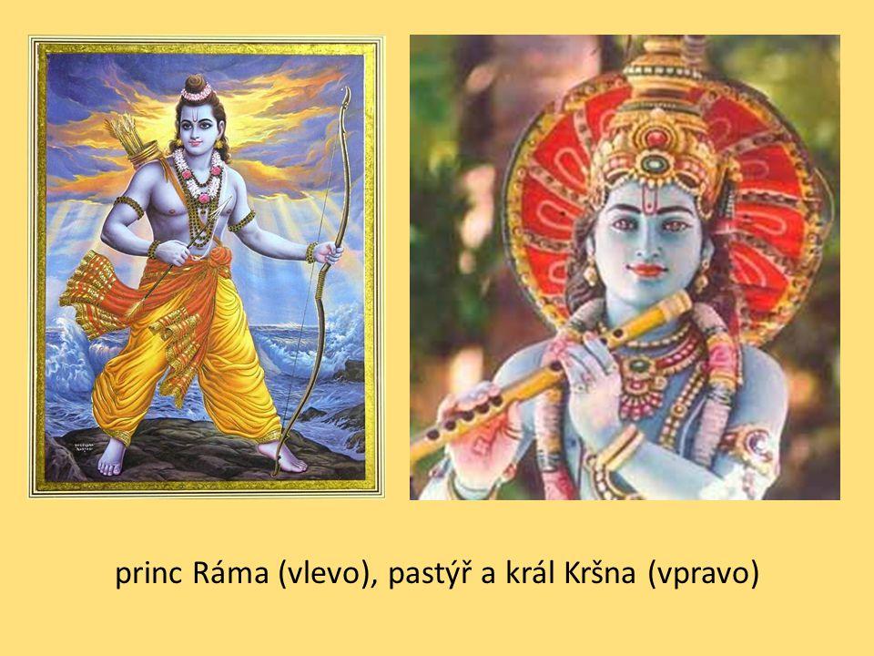 princ Ráma (vlevo), pastýř a král Kršna (vpravo)