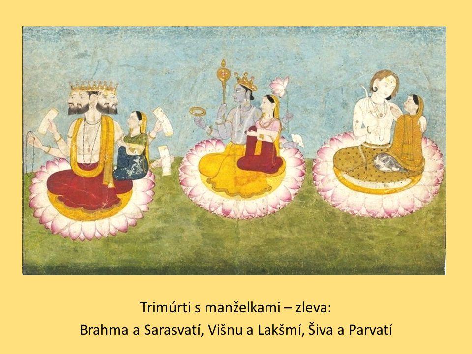 """Brahma:  stvořitel zosobňující vesmírný princip duchovní energie brahma  měl vždy nejméně uctívačů, jakožto stvořitel už svůj úkol udělal a do světského dění nezasahuje, takže věřící necítí potřebu ucházet se o jeho náklonnost  jen na 2 místech Indie se zachoval chrám, který mu byl zasvěcen  oproti němu Višnu (udržovatel) a Šiva (ničitel) se těší mimořádné oblibě  pravověrný hinduista však mezi jednotlivými 3 """"hlavními bohy příliš nerozlišuje (jsou to jen 3 hlavní aspekty a funkce nejvyššího božství)"""