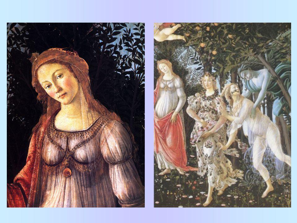 Primavera Jeden z vrcholných obrazů Venuše – ústřední postava, kolem ní různé scény; námět z Ovidiových Proměn Mnoho interpretací a různých identifikací postav Merkur; tři Grácie; Vesna; Zefyros; Flóra Spojitost mezi mytologií a křesťanskou vírou