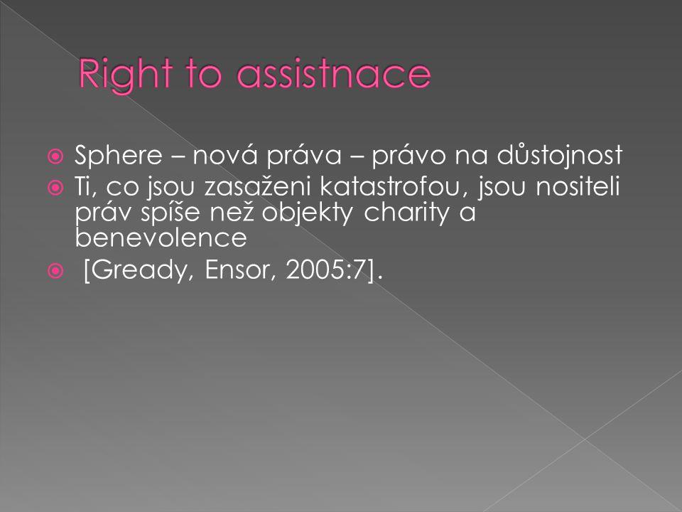  Sphere – nová práva – právo na důstojnost  Ti, co jsou zasaženi katastrofou, jsou nositeli práv spíše než objekty charity a benevolence  [Gready,