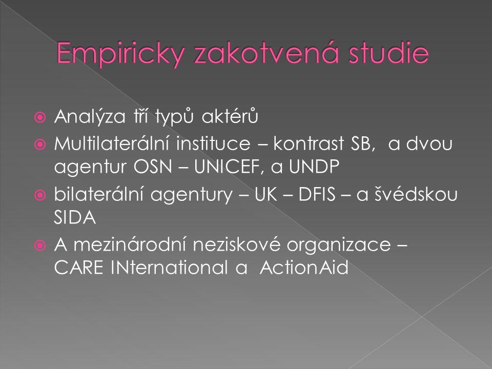  Analýza tří typů aktérů  Multilaterální instituce – kontrast SB, a dvou agentur OSN – UNICEF, a UNDP  bilaterální agentury – UK – DFIS – a švédskou SIDA  A mezinárodní neziskové organizace – CARE INternational a ActionAid