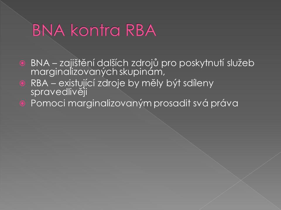  BNA – zajištění dalších zdrojů pro poskytnutí služeb marginalizovaných skupinám,  RBA – existující zdroje by měly být sdíleny spravedlivěji  Pomoc