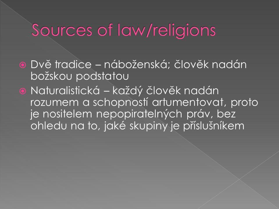  Dvě tradice – náboženská; člověk nadán božskou podstatou  Naturalistická – každý člověk nadán rozumem a schopností artumentovat, proto je nositelem nepopiratelných práv, bez ohledu na to, jaké skupiny je příslušníkem