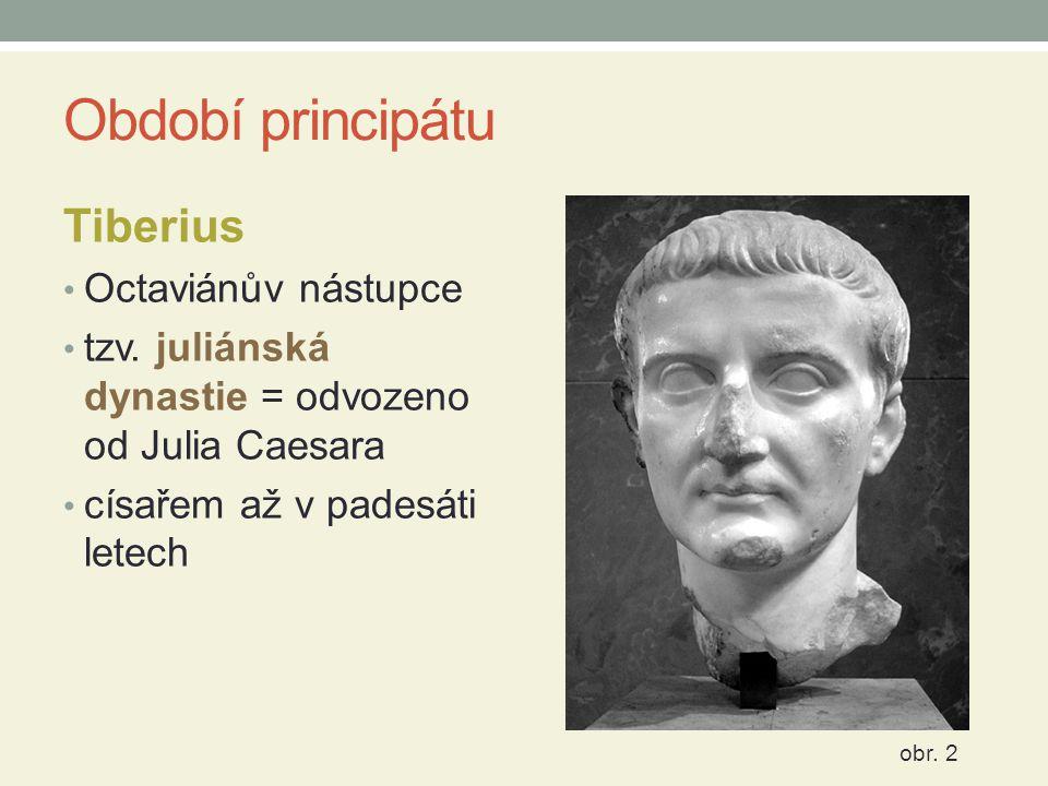 Období principátu Tiberius Octaviánův nástupce tzv. juliánská dynastie = odvozeno od Julia Caesara císařem až v padesáti letech obr. 2