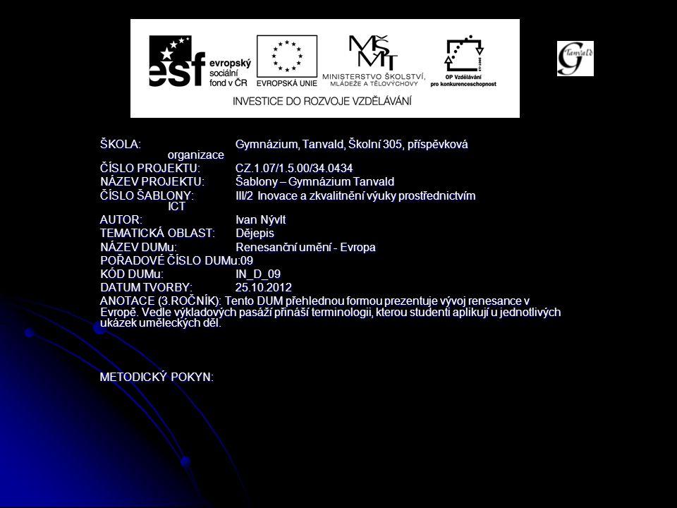 Osobnosti a díla SOCHAŘSTVÍ: Donatello – socha Davida SOCHAŘSTVÍ: Donatello – socha Davida Michelangelo Buonarotti – socha Davida, Pieta, náhrobky Medicejských Michelangelo Buonarotti – socha Davida, Pieta, náhrobky Medicejských