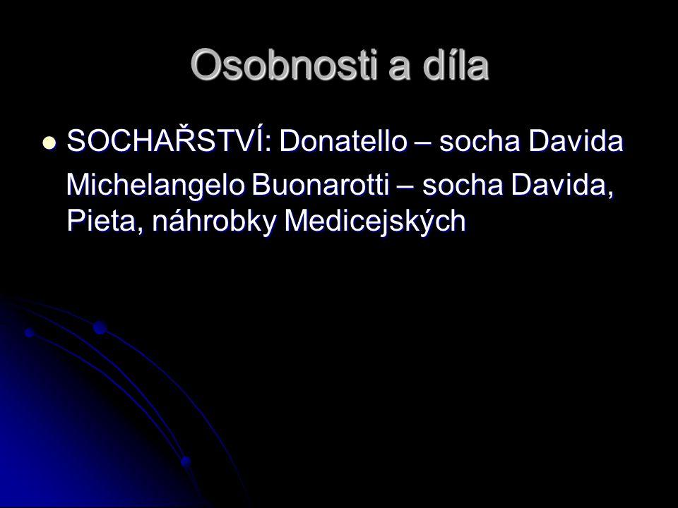 Osobnosti a díla SOCHAŘSTVÍ: Donatello – socha Davida SOCHAŘSTVÍ: Donatello – socha Davida Michelangelo Buonarotti – socha Davida, Pieta, náhrobky Med