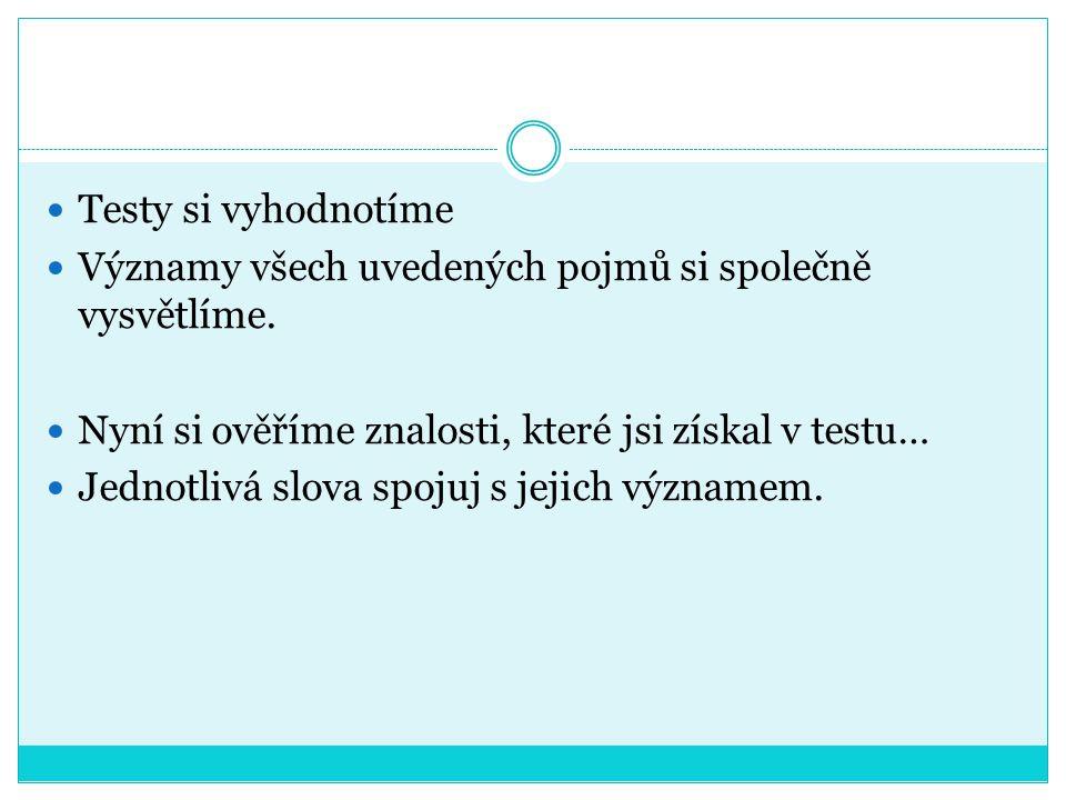 Zde najdeš test: http://www.sikmaplocha.cz/lekce/P14/Co- znamenaji-ta-slova nvm=video http://www.sikmaplocha.cz/lekce/P14/Co- znamenaji-ta-slova nvm=video