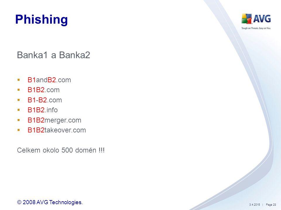 © 2008 AVG Technologies. 3.4.2015| Page 28 Phishing Banka1 a Banka2  B1andB2.com  B1B2.com  B1-B2.com  B1B2.info  B1B2merger.com  B1B2takeover.c