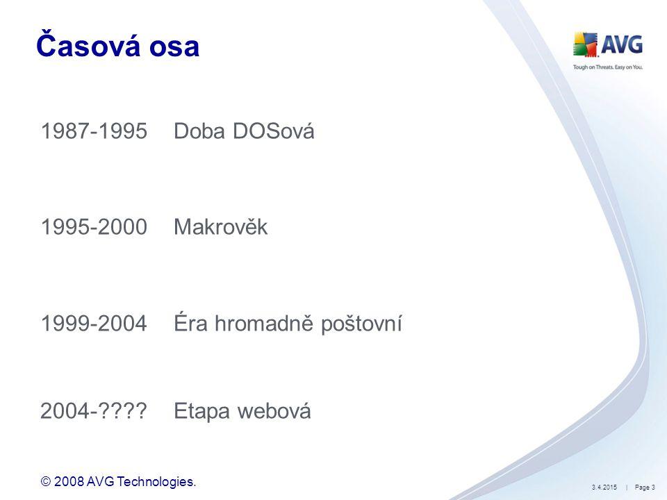 © 2008 AVG Technologies. 3.4.2015| Page 3 Časová osa 1987-1995Doba DOSová 1995-2000Makrověk 1999-2004Éra hromadně poštovní 2004-????Etapa webová