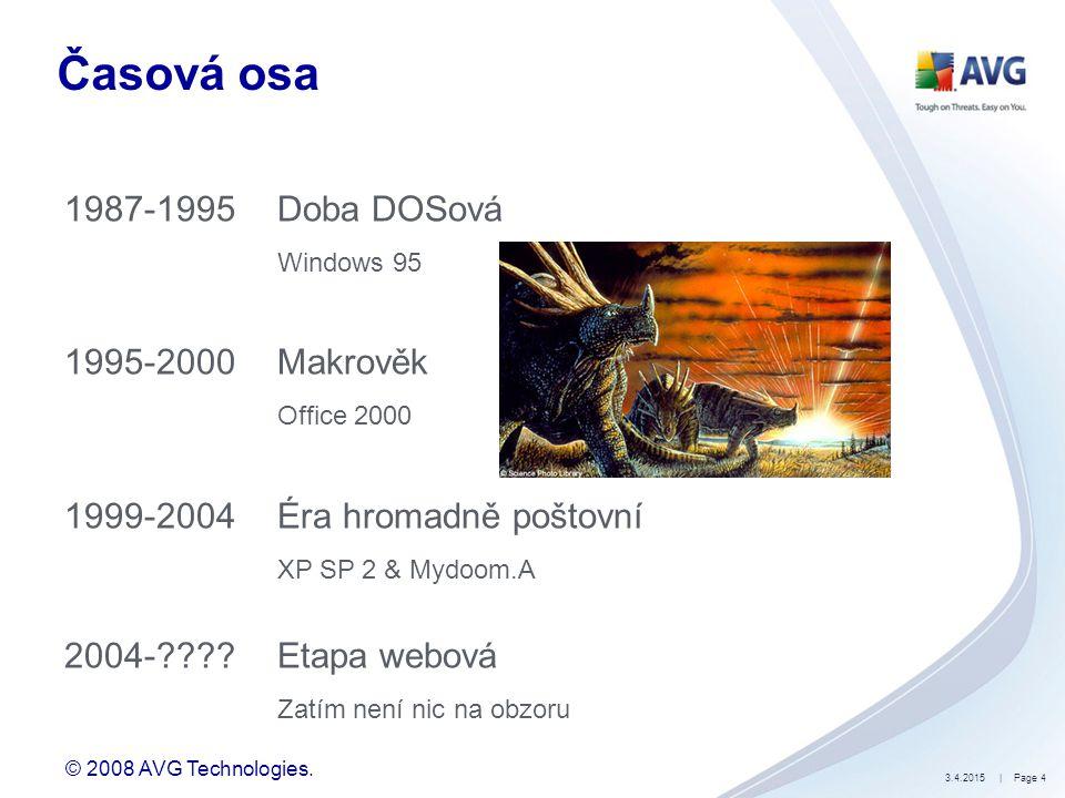 © 2008 AVG Technologies. 3.4.2015| Page 4 Časová osa 1987-1995Doba DOSová Windows 95 1995-2000Makrověk Office 2000 1999-2004Éra hromadně poštovní XP S