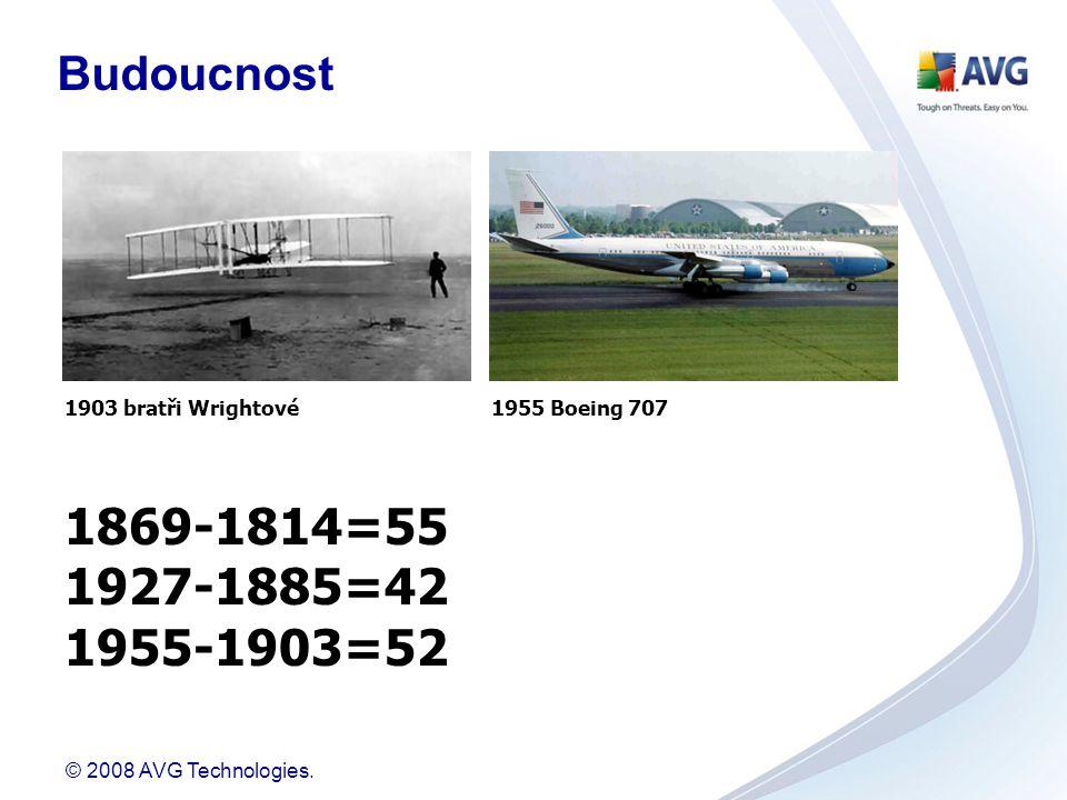 © 2008 AVG Technologies. 1903 bratři Wrightové1955 Boeing 707 1869-1814=55 1927-1885=42 1955-1903=52 Budoucnost