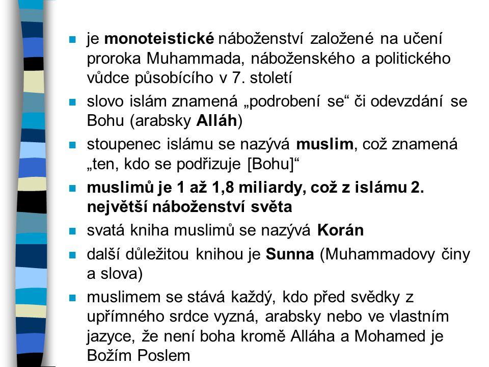 """n je monoteistické náboženství založené na učení proroka Muhammada, náboženského a politického vůdce působícího v 7. století n slovo islám znamená """"po"""