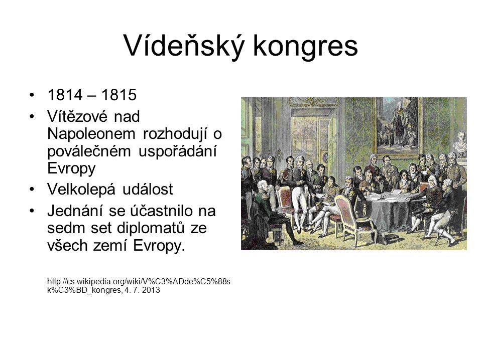 Vídeňský kongres 1814 – 1815 Vítězové nad Napoleonem rozhodují o poválečném uspořádání Evropy Velkolepá událost Jednání se účastnilo na sedm set diplo