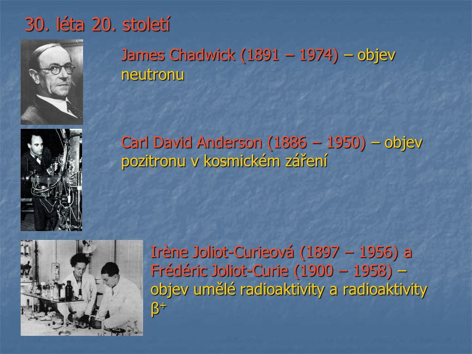 30. léta 20. století James Chadwick (1891 – 1974) – objev neutronu James Chadwick (1891 – 1974) – objev neutronu Carl David Anderson (1886 – 1950) – o