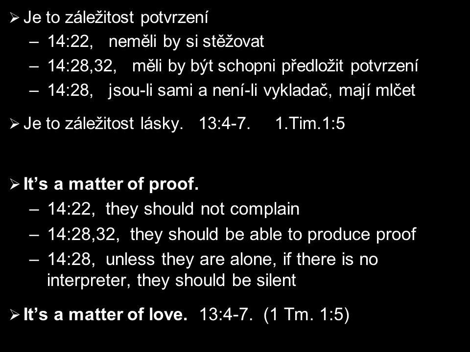  Je to záležitost potvrzení –14:22, neměli by si stěžovat –14:28,32, měli by být schopni předložit potvrzení –14:28, jsou-li sami a není-li vykladač, mají mlčet  Je to záležitost lásky.