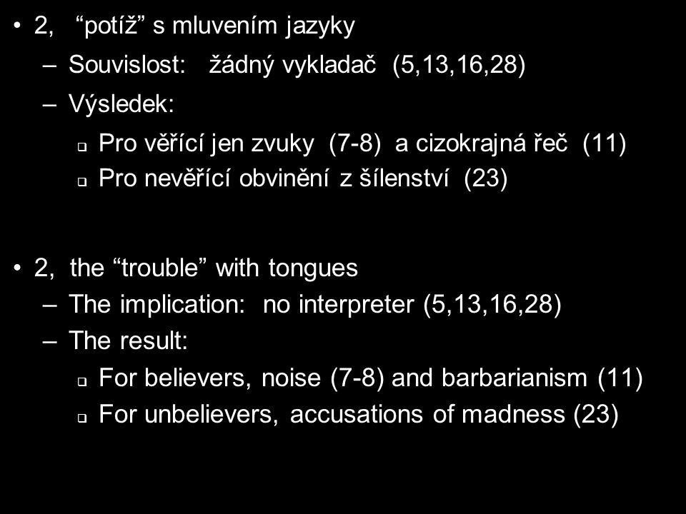 2, potíž s mluvením jazyky –Souvislost: žádný vykladač (5,13,16,28) –Výsledek:  Pro věřící jen zvuky (7-8) a cizokrajná řeč (11)  Pro nevěřící obvinění z šílenství (23) 2, the trouble with tongues –The implication: no interpreter (5,13,16,28) –The result:  For believers, noise (7-8) and barbarianism (11)  For unbelievers, accusations of madness (23)