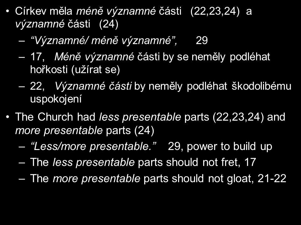 Církev měla méně významné části (22,23,24) a významné části (24) – Významné/ méně významné , 29 –17, Méně významné části by se neměly podléhat hořkosti (užírat se) –22, Významné části by neměly podléhat škodolibému uspokojení The Church had less presentable parts (22,23,24) and more presentable parts (24) – Less/more presentable. 29, power to build up –The less presentable parts should not fret, 17 –The more presentable parts should not gloat, 21-22