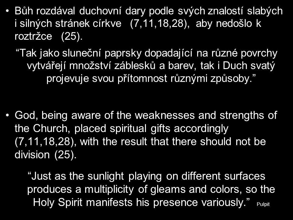 """Bůh rozdával duchovní dary podle svých znalostí slabých i silných stránek církve (7,11,18,28), aby nedošlo k roztržce (25). """"Tak jako sluneční paprsky"""