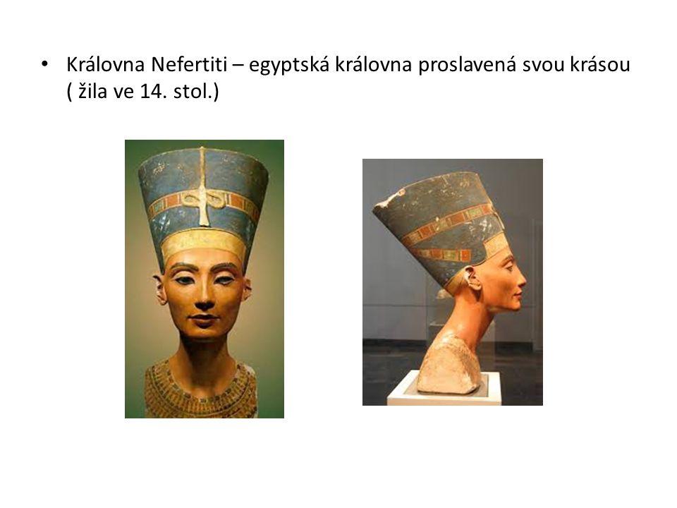 Královna Nefertiti – egyptská královna proslavená svou krásou ( žila ve 14. stol.)