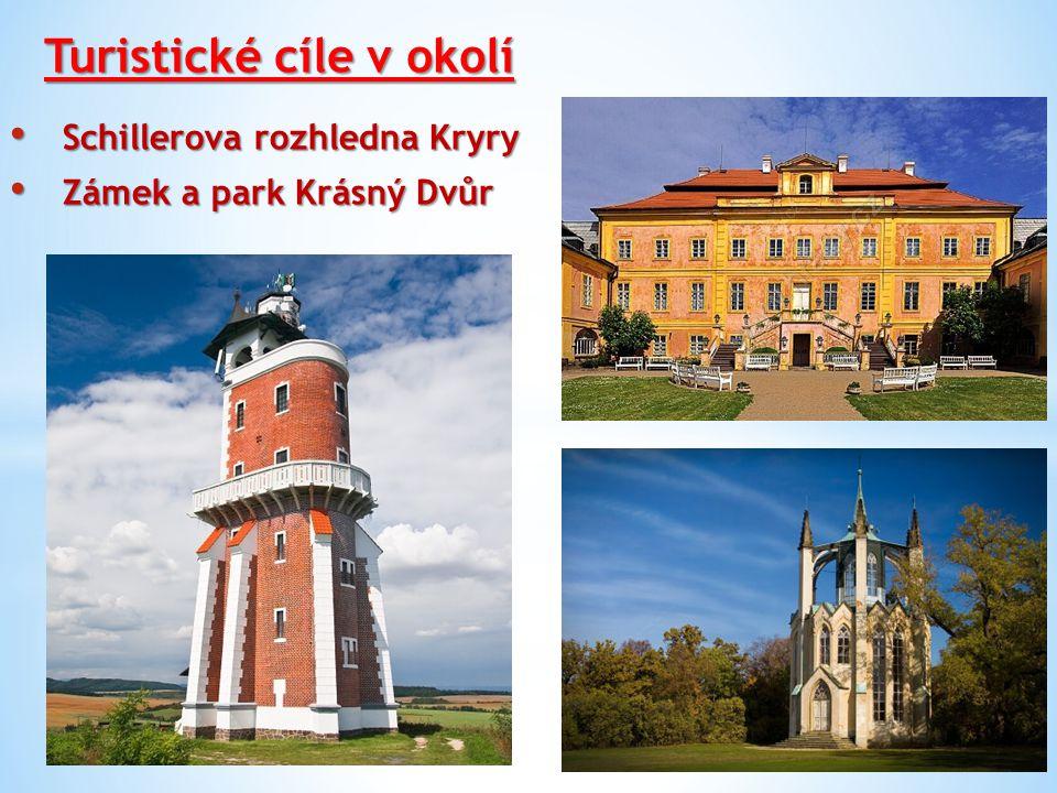 Turistické cíle v okolí Schillerova rozhledna Kryry Schillerova rozhledna Kryry Zámek a park Krásný Dvůr Zámek a park Krásný Dvůr