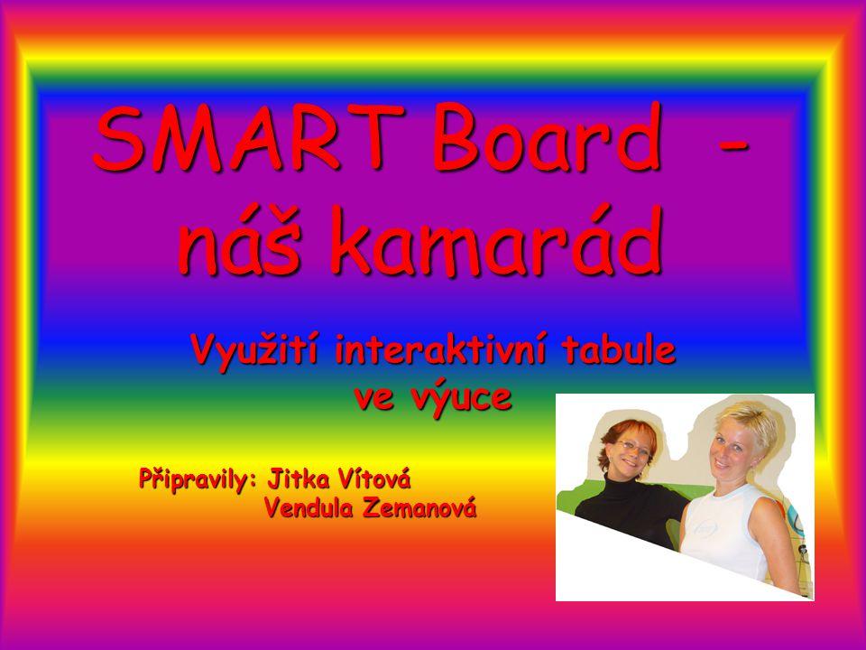 SMART Board - náš kamarád Využití interaktivní tabule ve výuce Připravily: Jitka Vítová Vendula Zemanová Vendula Zemanová