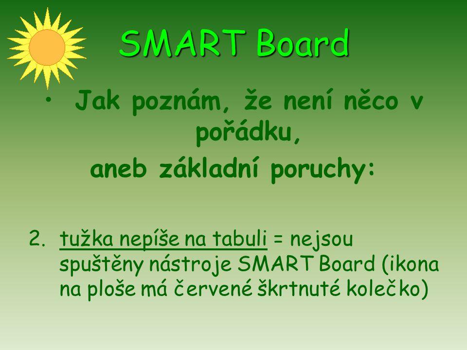 SMART Board Jak poznám, že není něco v pořádku, aneb základní poruchy: 3.tabule svítí (šedivě), ale není na ní nic vidět = možná je krytka přes objektiv dataprojektoru