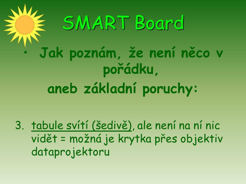 SMART Board Jak poznám, že není něco v pořádku, aneb základní poruchy: 3.tabule svítí (šedivě), ale není na ní nic vidět = možná je krytka přes objekt