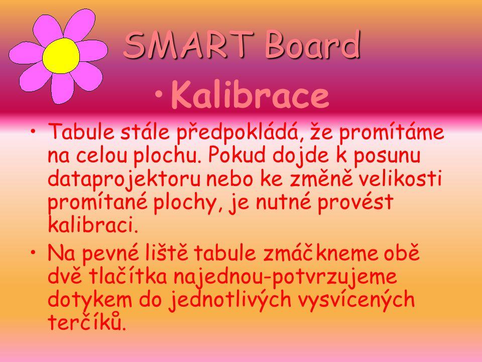 SMART Board Kalibrace Tabule stále předpokládá, že promítáme na celou plochu. Pokud dojde k posunu dataprojektoru nebo ke změně velikosti promítané pl