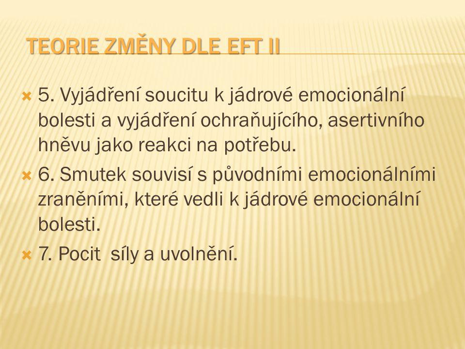TEORIE ZMĚNY DLE EFT II TEORIE ZMĚNY DLE EFT II  5. Vyjádření soucitu k jádrové emocionální bolesti a vyjádření ochraňujícího, asertivního hněvu jako