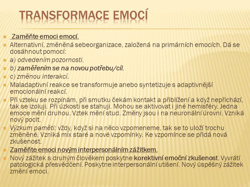  Zaměňte emoci emocí.  Alternativní, změněná sebeorganizace, založená na primárních emocích. Dá se dosáhnout pomocí:  a) odvedením pozornosti.  b)