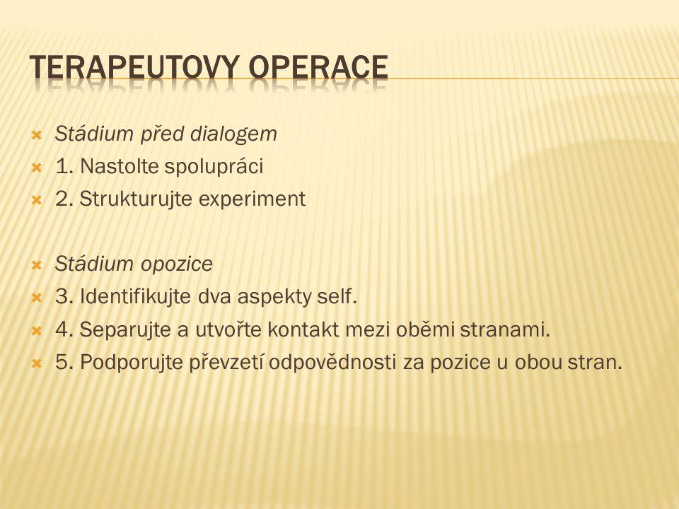  Stádium před dialogem  1. Nastolte spolupráci  2. Strukturujte experiment  Stádium opozice  3. Identifikujte dva aspekty self.  4. Separujte a