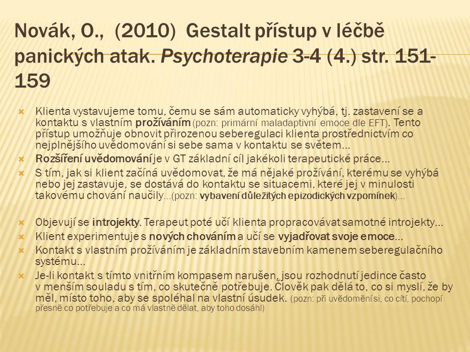 Novák, O., (2010) Gestalt přístup v léčbě panických atak. Psychoterapie 3-4 (4.) str. 151- 159  Klienta vystavujeme tomu, čemu se sám automaticky vyh