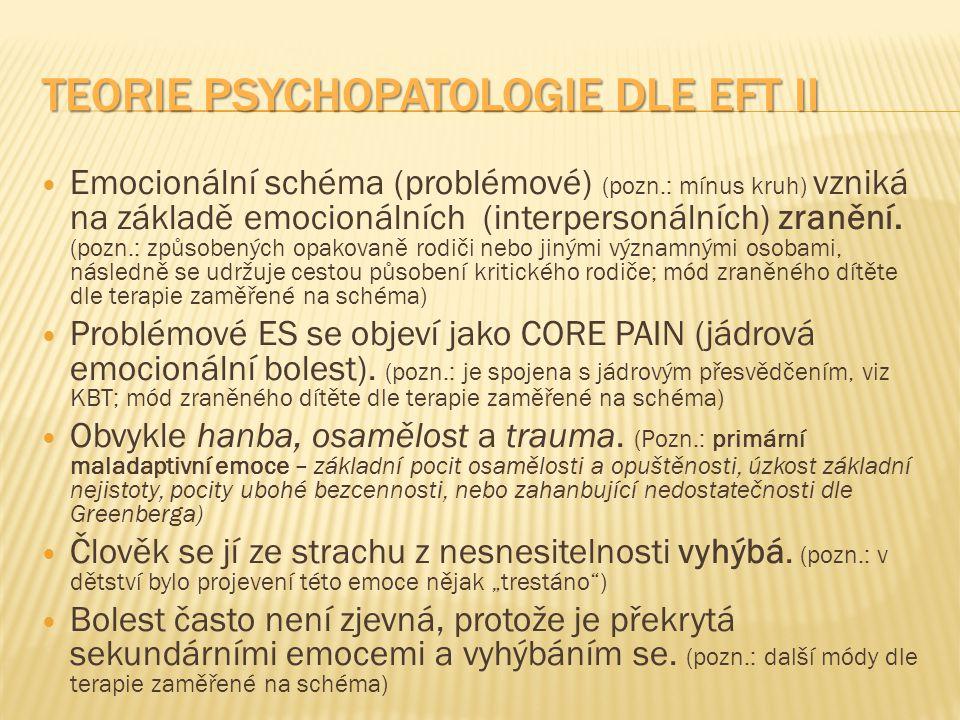 TEORIE PSYCHOPATOLOGIE DLE EFT II Emocionální schéma (problémové) (pozn.: mínus kruh) vzniká na základě emocionálních (interpersonálních) zranění. (po