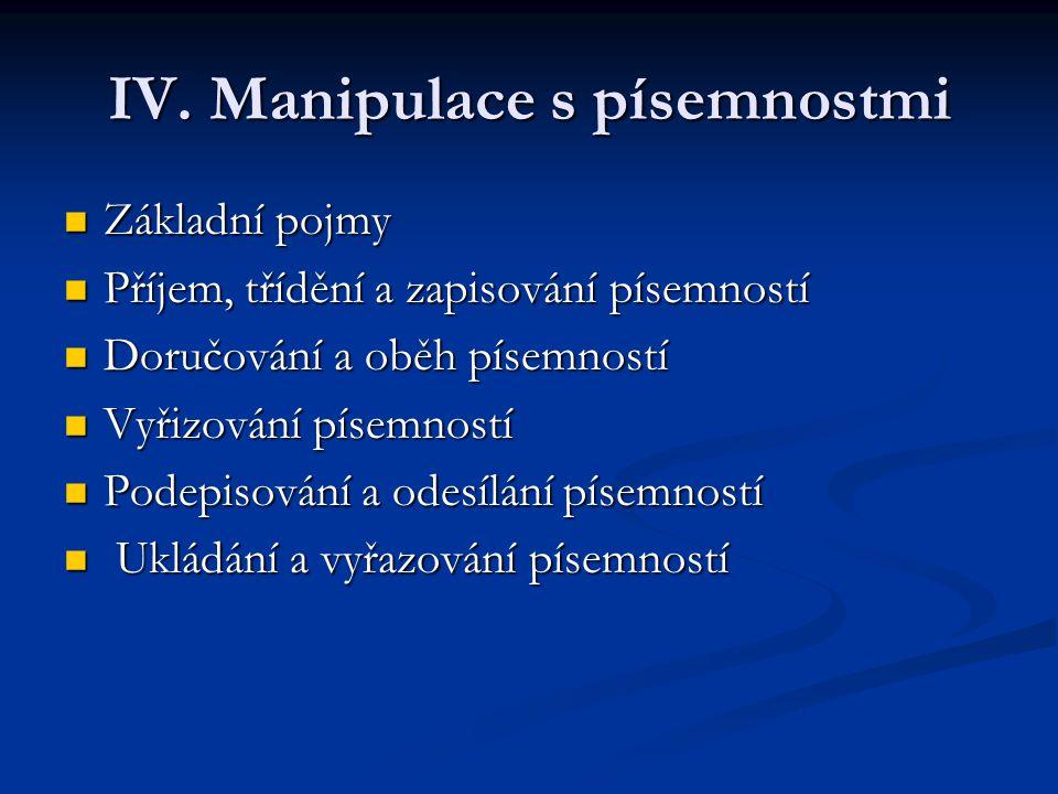 IV. Manipulace s písemnostmi Základní pojmy Základní pojmy Příjem, třídění a zapisování písemností Příjem, třídění a zapisování písemností Doručování