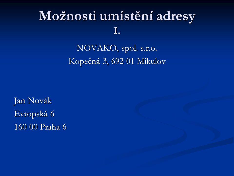 Možnosti umístění adresy I.NOVAKO, spol. s.r.o.