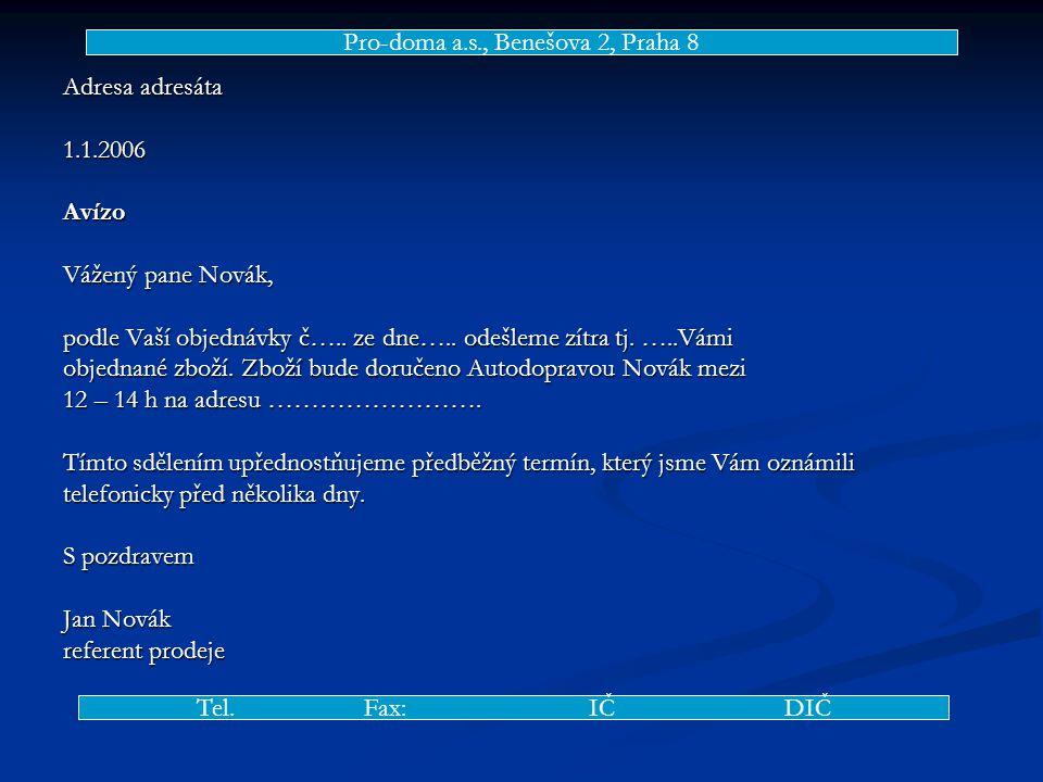 Adresa adresáta 1.1.2006Avízo Vážený pane Novák, podle Vaší objednávky č…..