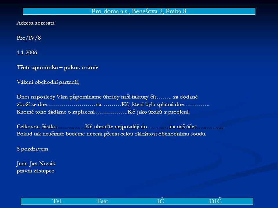 Adresa adresáta Pro/IV/81.1.2006 Třetí upomínka – pokus o smír Vážení obchodní partneři, Dnes naposledy Vám připomínáme úhrady naší faktury čís……..