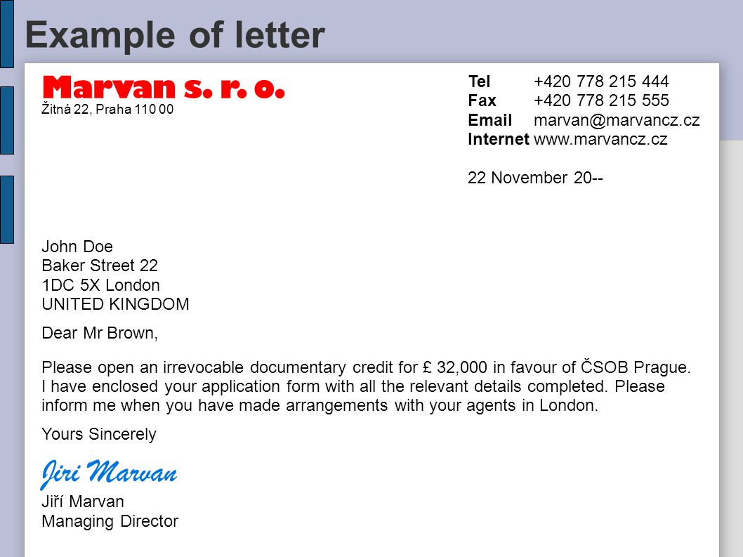 Example of letter Marvan s. r. o.