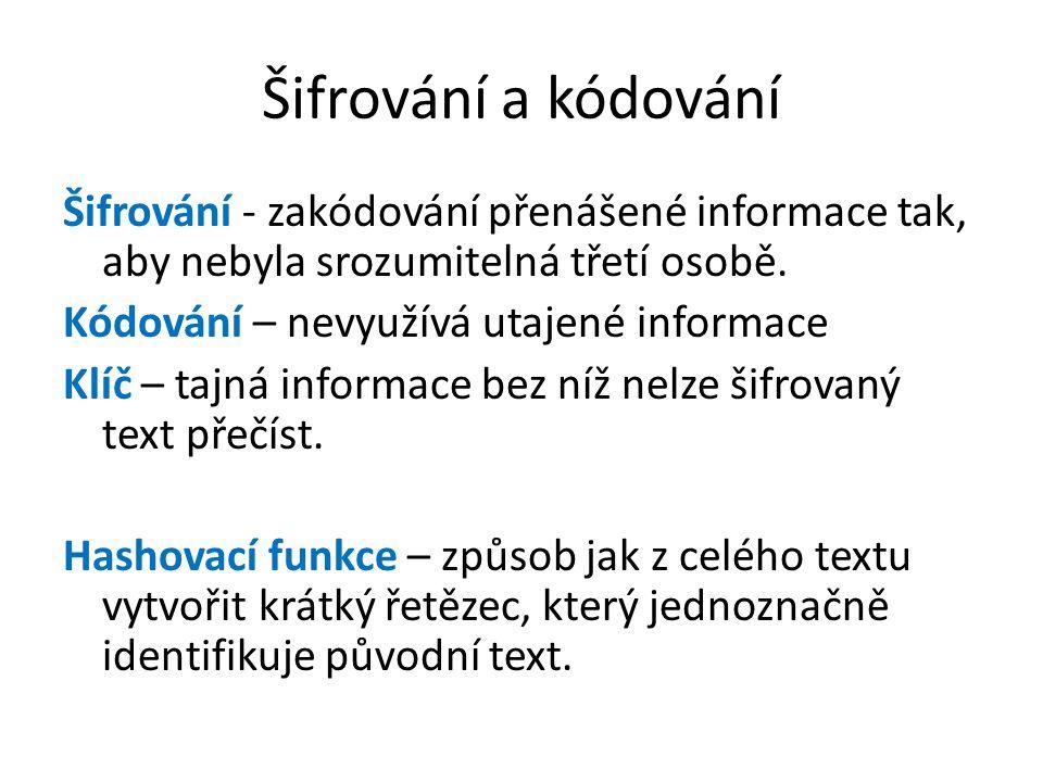 Šifrování a kódování Šifrování - zakódování přenášené informace tak, aby nebyla srozumitelná třetí osobě.