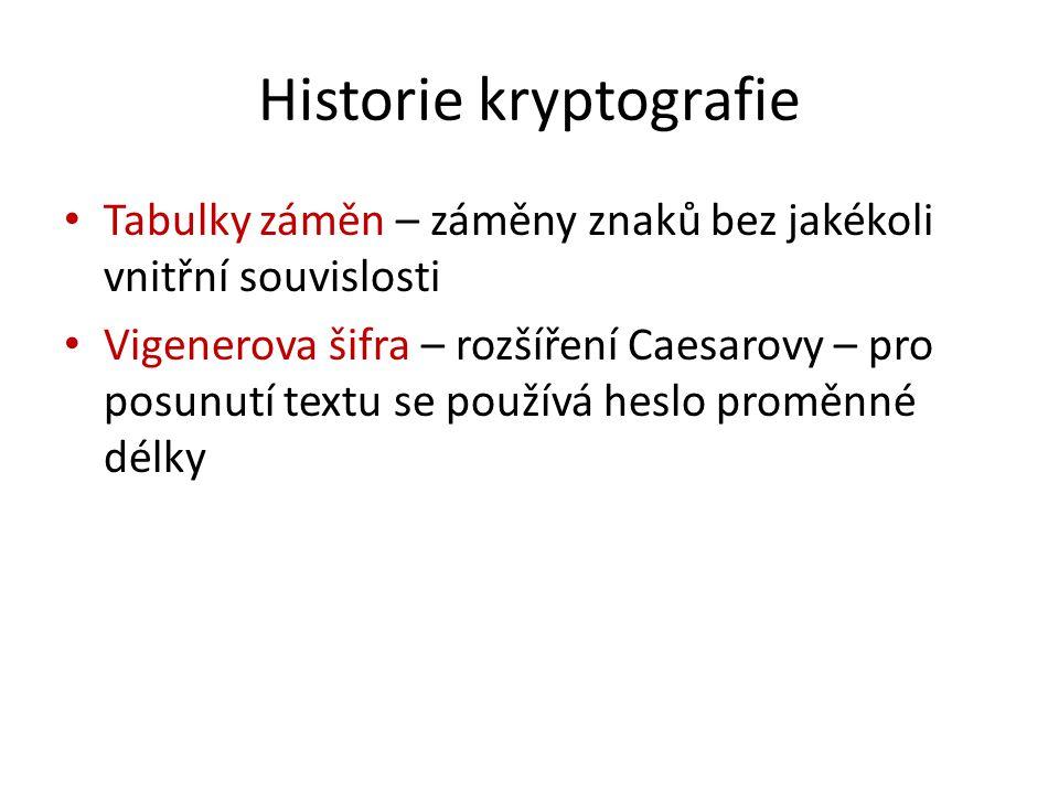 Historie kryptografie Tabulky záměn – záměny znaků bez jakékoli vnitřní souvislosti Vigenerova šifra – rozšíření Caesarovy – pro posunutí textu se používá heslo proměnné délky