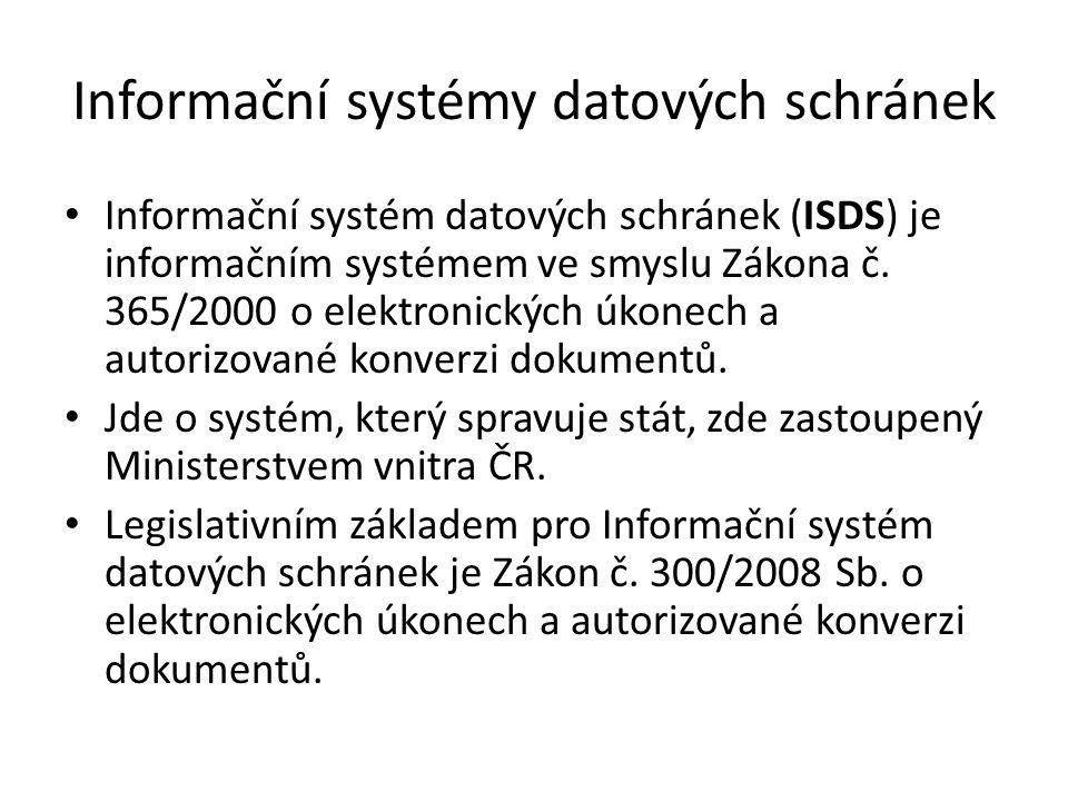 Informační systémy datových schránek Informační systém datových schránek (ISDS) je informačním systémem ve smyslu Zákona č.