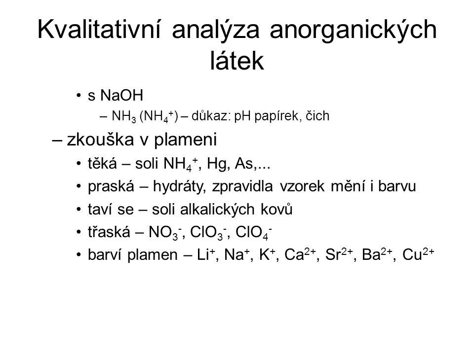 Kvalitativní analýza anorganických látek s NaOH –NH 3 (NH 4 + ) – důkaz: pH papírek, čich –zkouška v plameni těká – soli NH 4 +, Hg, As,... praská – h