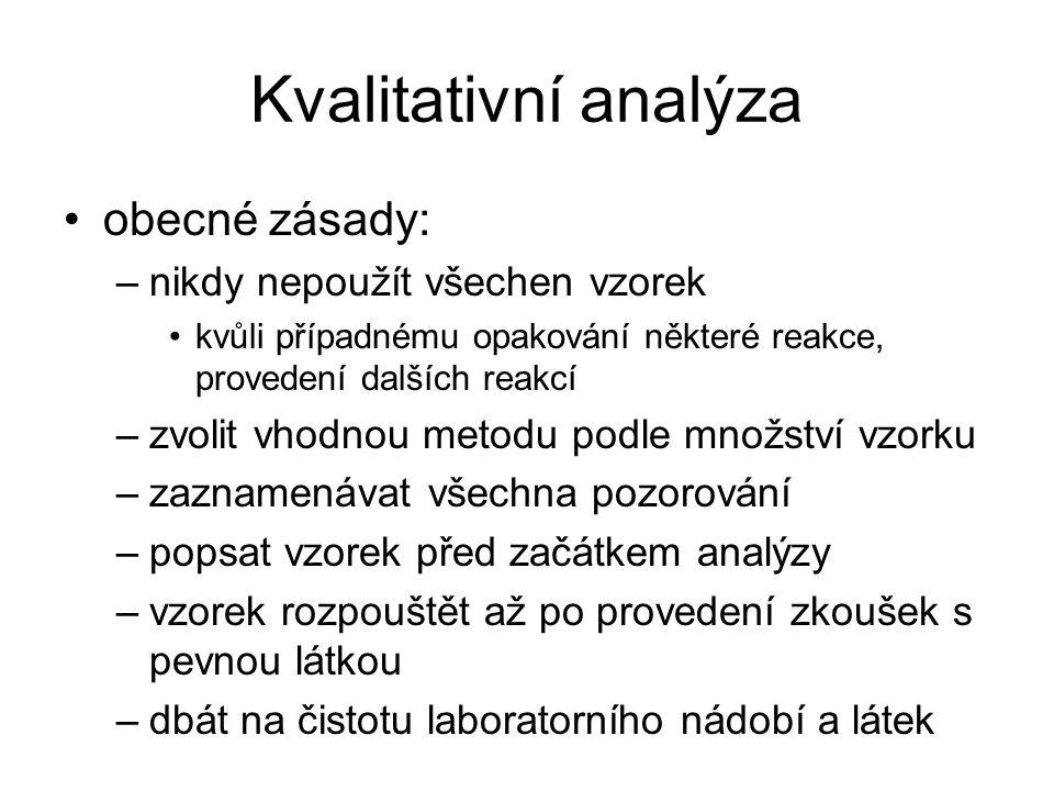 Kvalitativní analýza obecné zásady: –nikdy nepoužít všechen vzorek kvůli případnému opakování některé reakce, provedení dalších reakcí –zvolit vhodnou