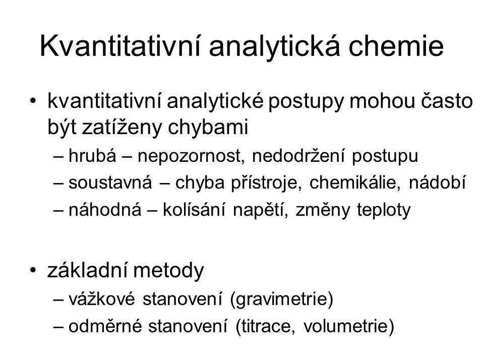 Kvantitativní analytická chemie kvantitativní analytické postupy mohou často být zatíženy chybami –hrubá – nepozornost, nedodržení postupu –soustavná