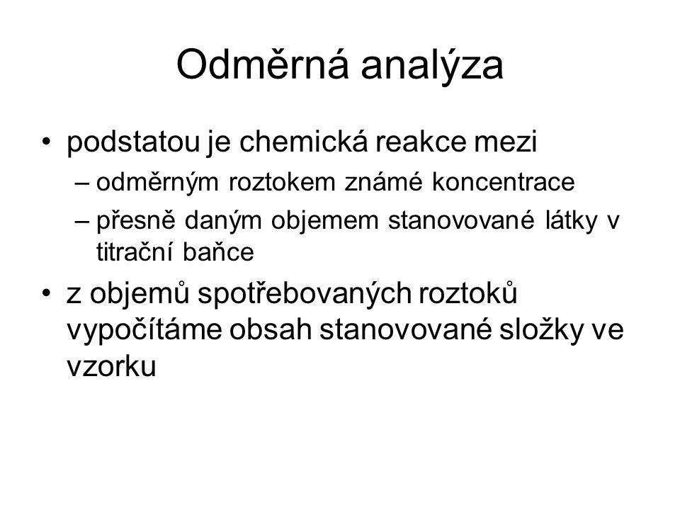 Odměrná analýza podstatou je chemická reakce mezi –odměrným roztokem známé koncentrace –přesně daným objemem stanovované látky v titrační baňce z obje