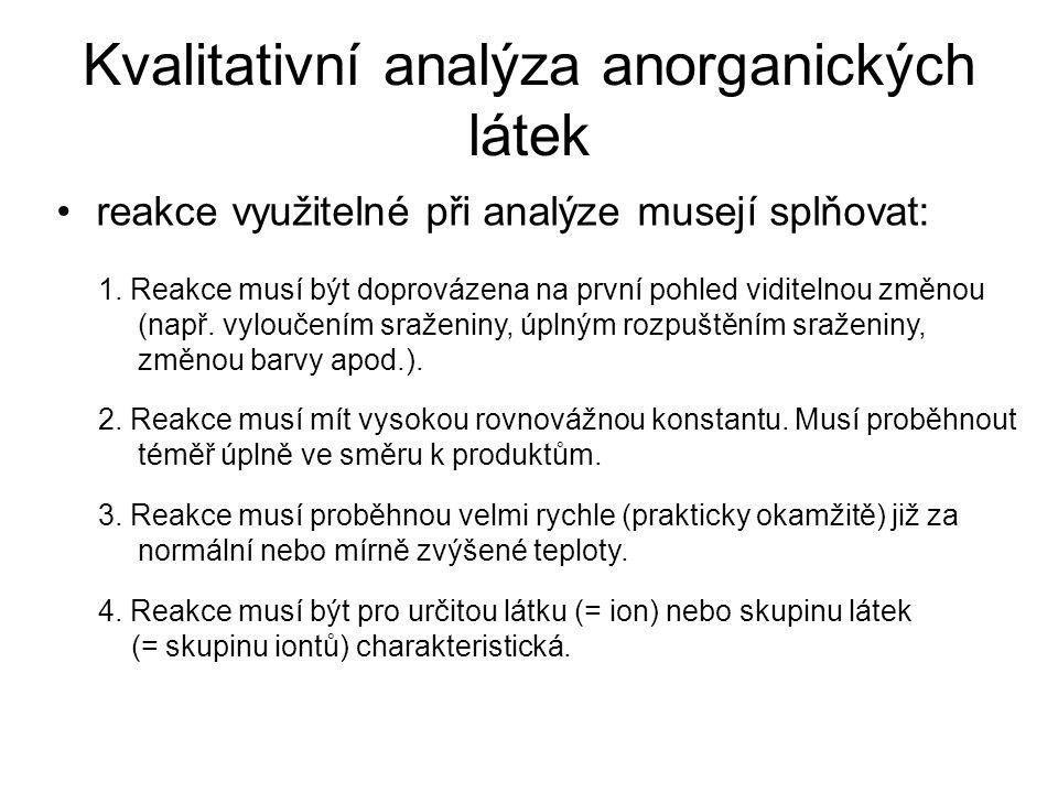 Kvalitativní analýza anorganických látek reakce využitelné při analýze musejí splňovat: 1. Reakce musí být doprovázena na první pohled viditelnou změn