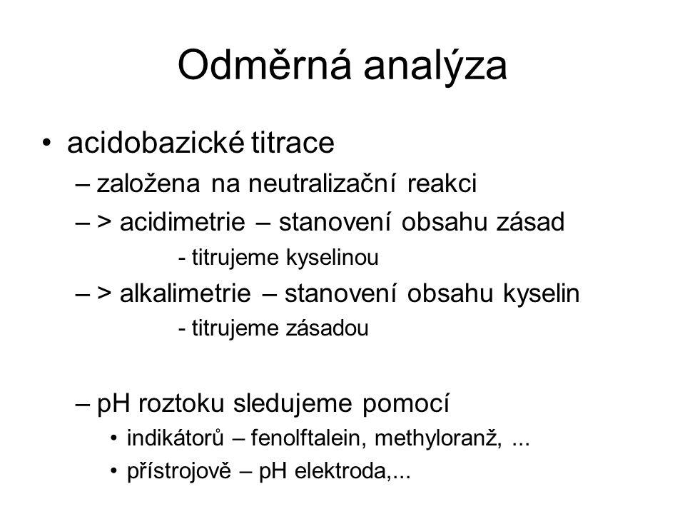 Odměrná analýza acidobazické titrace –založena na neutralizační reakci –> acidimetrie – stanovení obsahu zásad - titrujeme kyselinou –> alkalimetrie –
